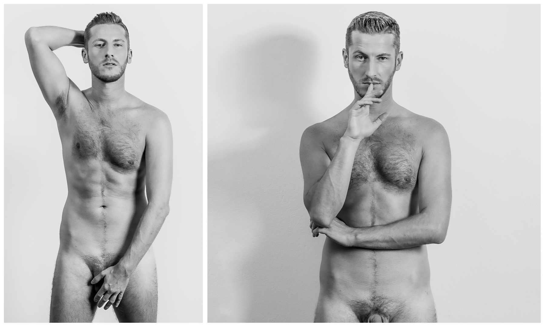 Collage, Männerakt